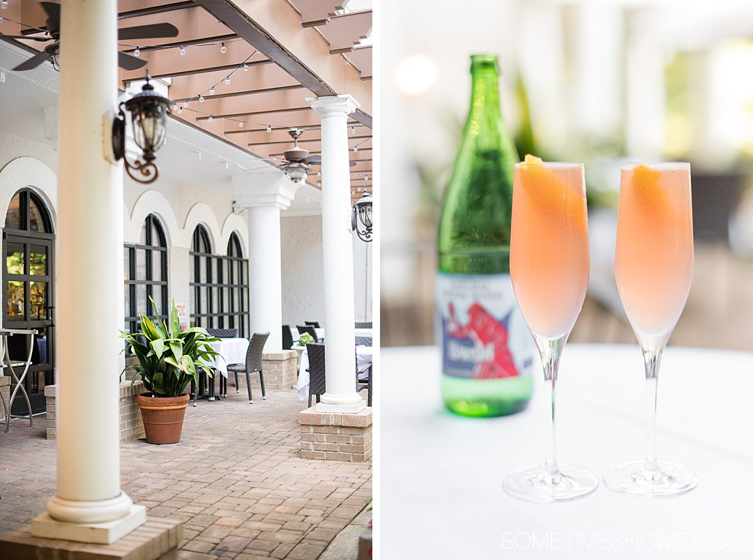 Outdoor patio and drinks in champagne flutes at Il Palio restaurant