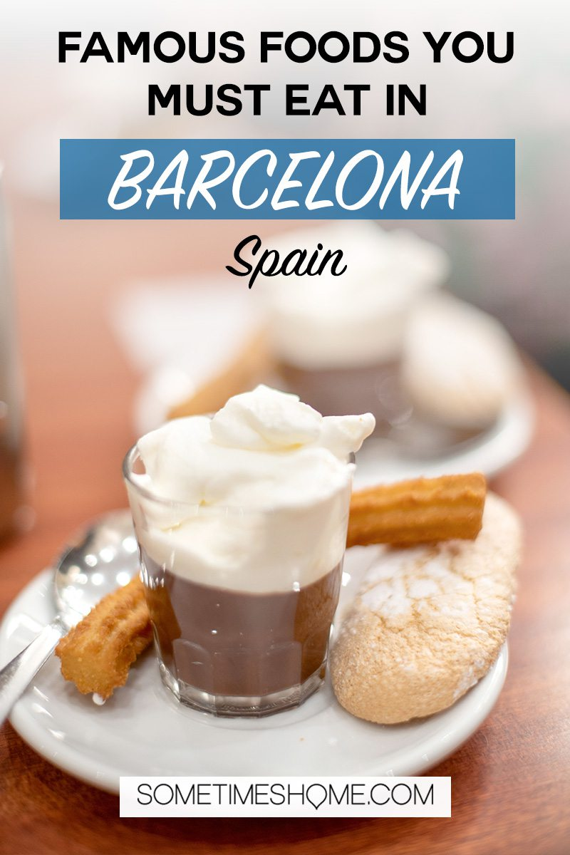 Chocolate and churros and a Catalan lady finger cookie in Barcelona Spain