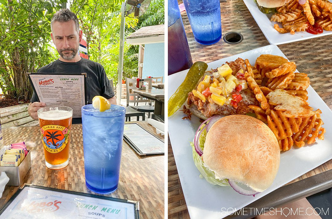 2 images side by side at a restaurant. Left image of a man reading a menu and drinks on the table, right image of a sandwich plate.