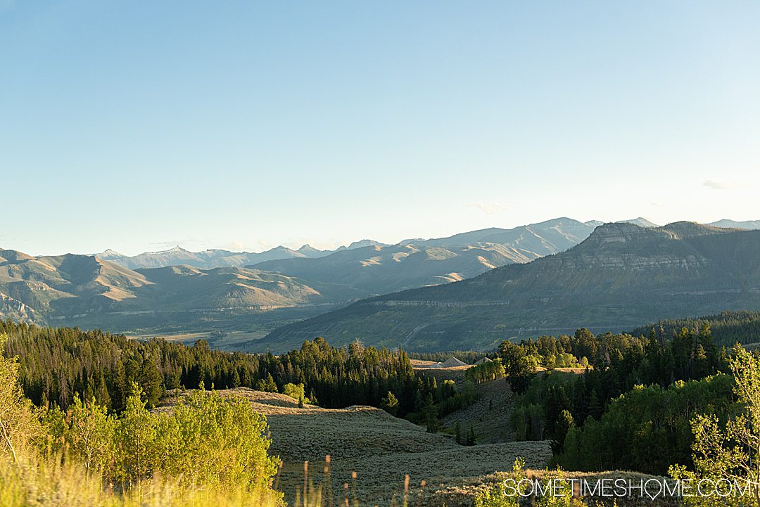 Green and blue image with mountains in the distance on Beartooth Pass, a Scenic drive of America.