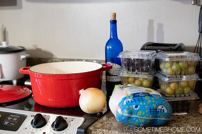 Ingredients to prepare for a Muscadine grape recipe.