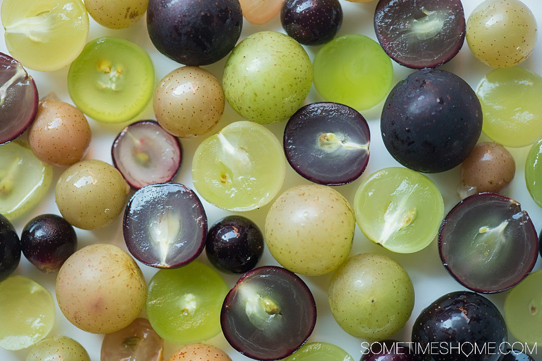 Cut and whole muscadine grapes