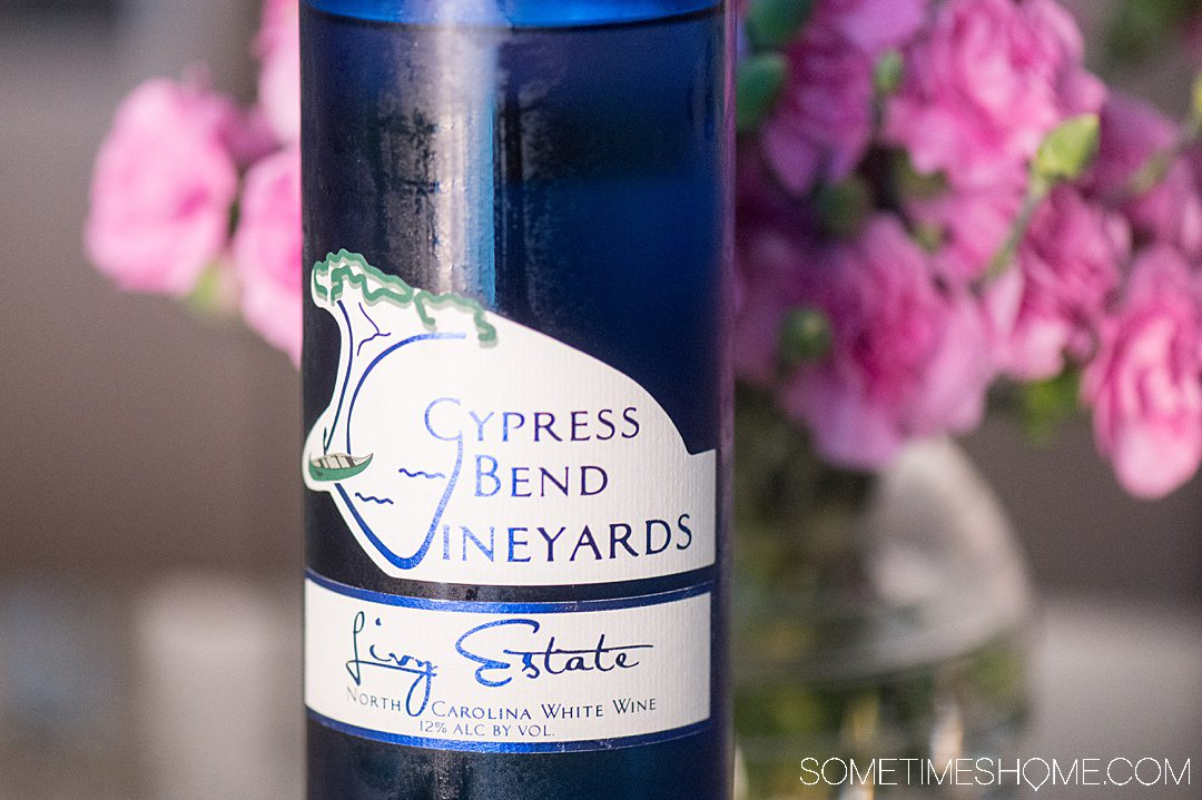 Cypress Bend Vineyards blue bottle of white wine made with North Carolina muscadine grapes