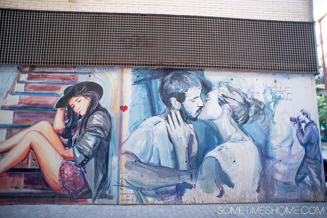 Street of a couple kissing taken in Valencia, Spain