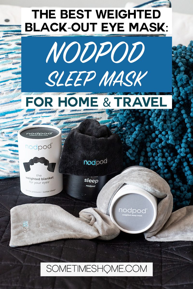 nodpod sleep mask review Pinterest graphic with blue pillows and a grey and black eye mask.