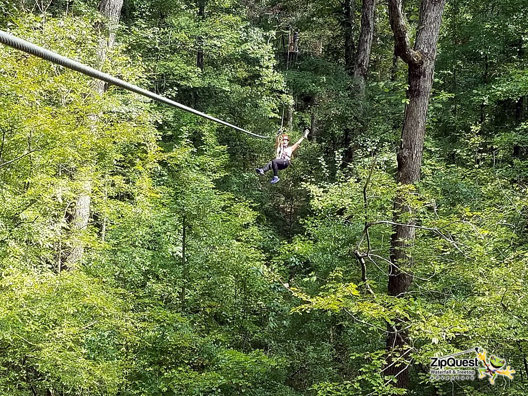 A woman ziplining in the trees at ZipQuest in Fayetteville, NC.