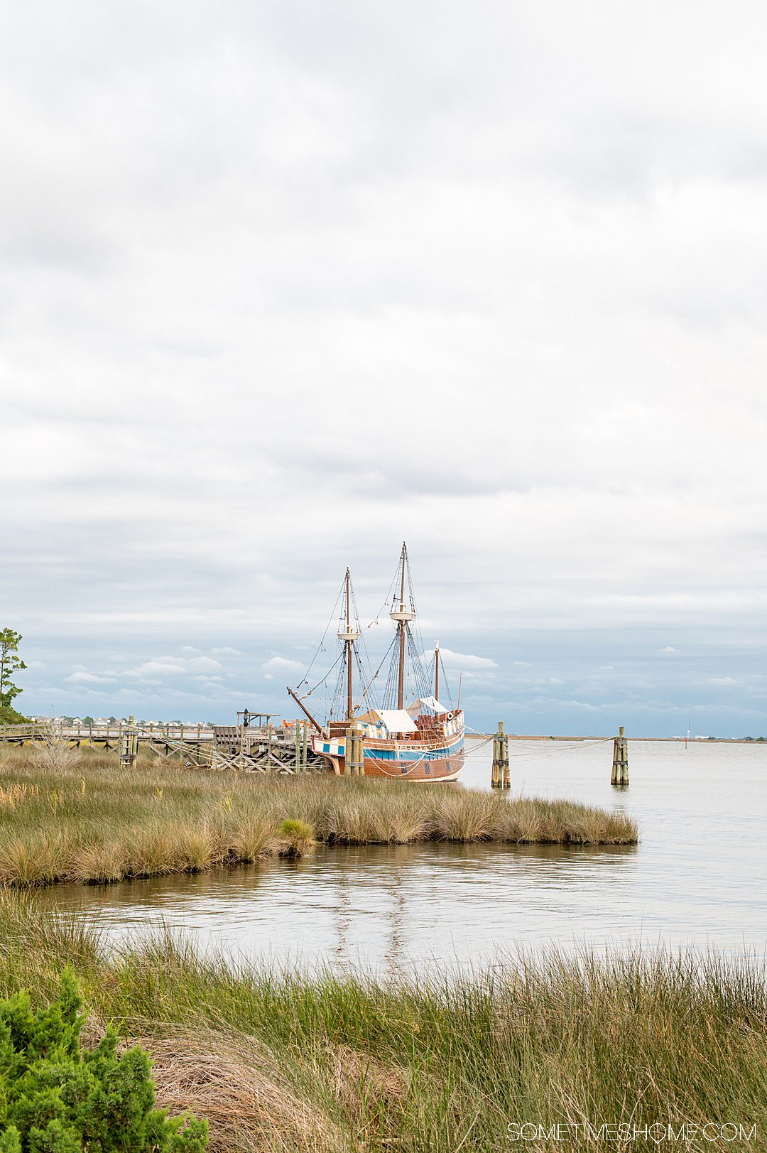 View of an old boat in the harbor on Roanoke Island in the Outer Banks.