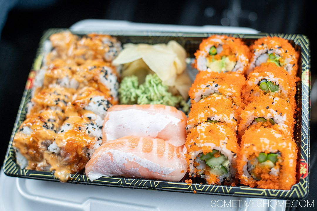 A plate of takeout sushi from Single Fin Thai-Sushi restaurant in the Outer Banks.
