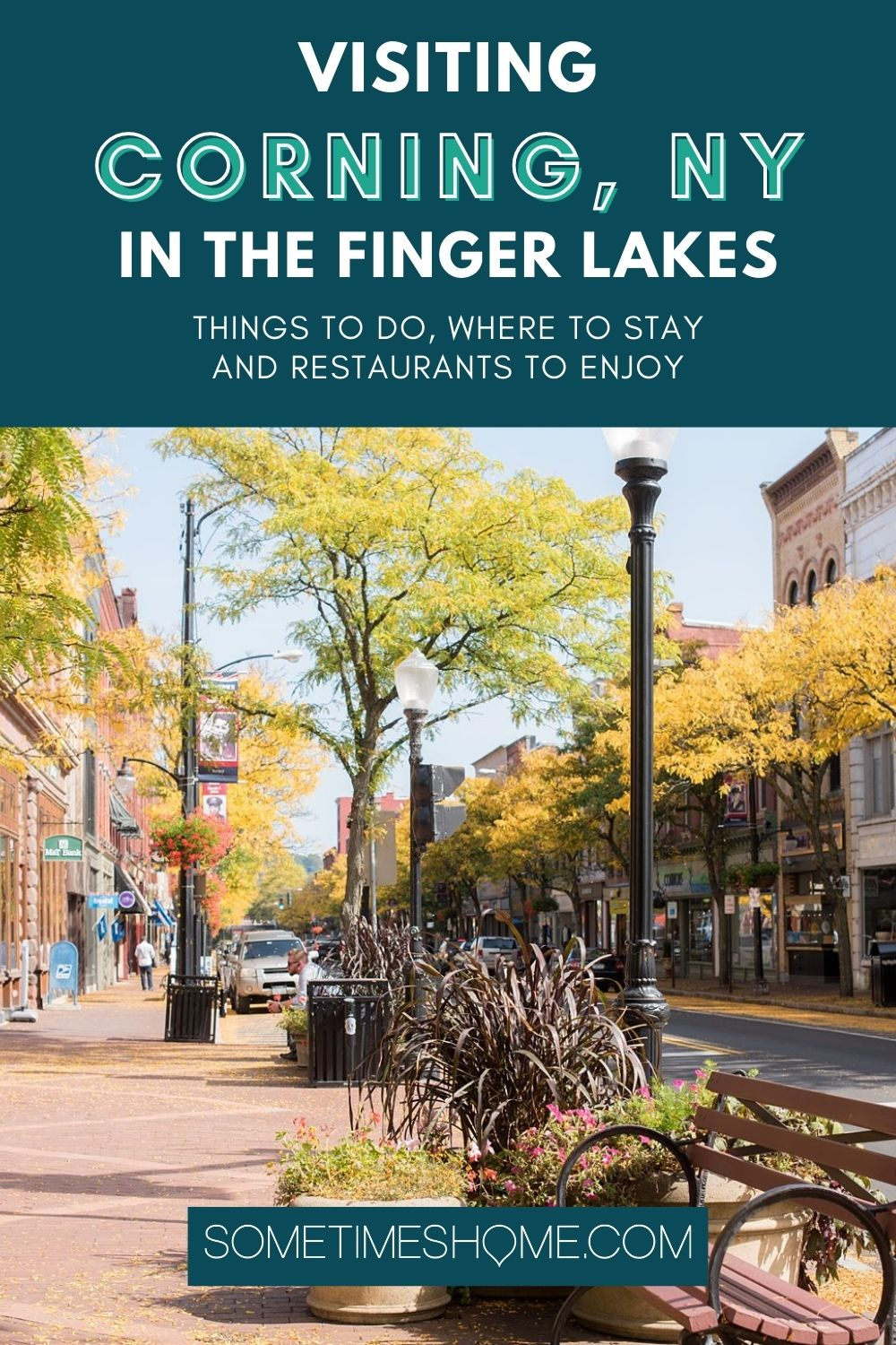 Visiting Corning NY in the Finger Lakes Pinterest images with a fall sidewalk scene in the photo below.