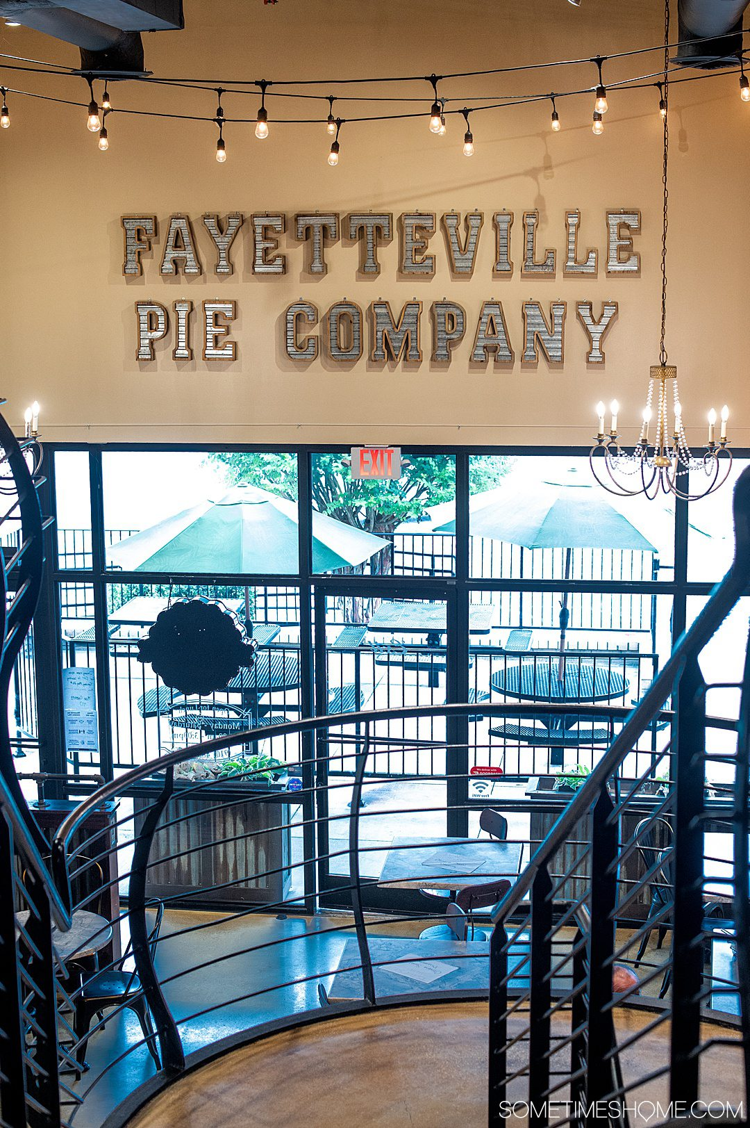 Interior view of the two-story Fayetteville Pie Company in North Carolina.