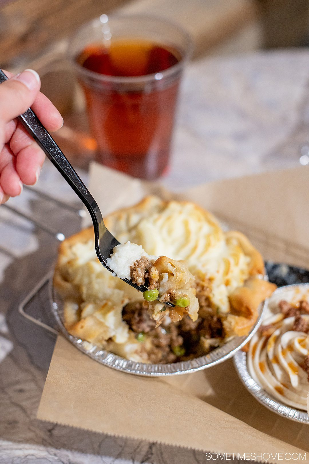 A fork with a taste of Shepherd's pie at Fayetteville Pie Company in Fayetteville, NC.