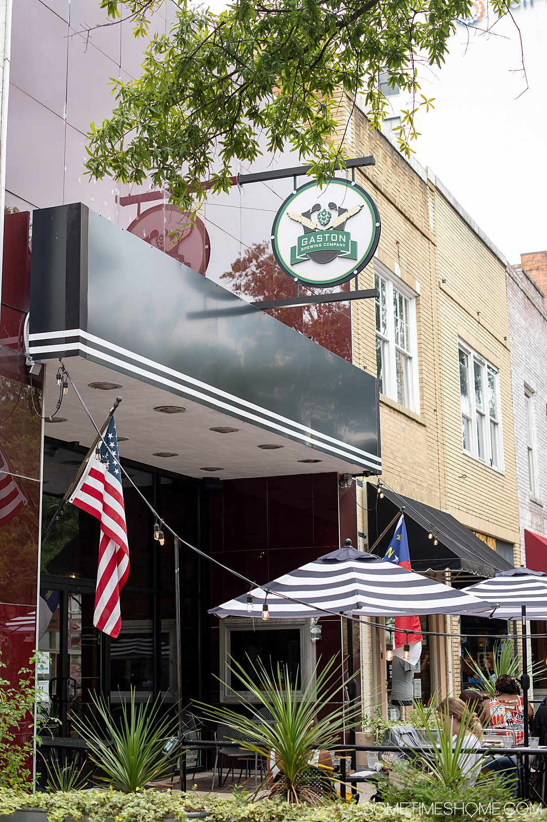 The facade of Gaston Brewing Co. in downtown Fayetteville, NC on Hay Street.