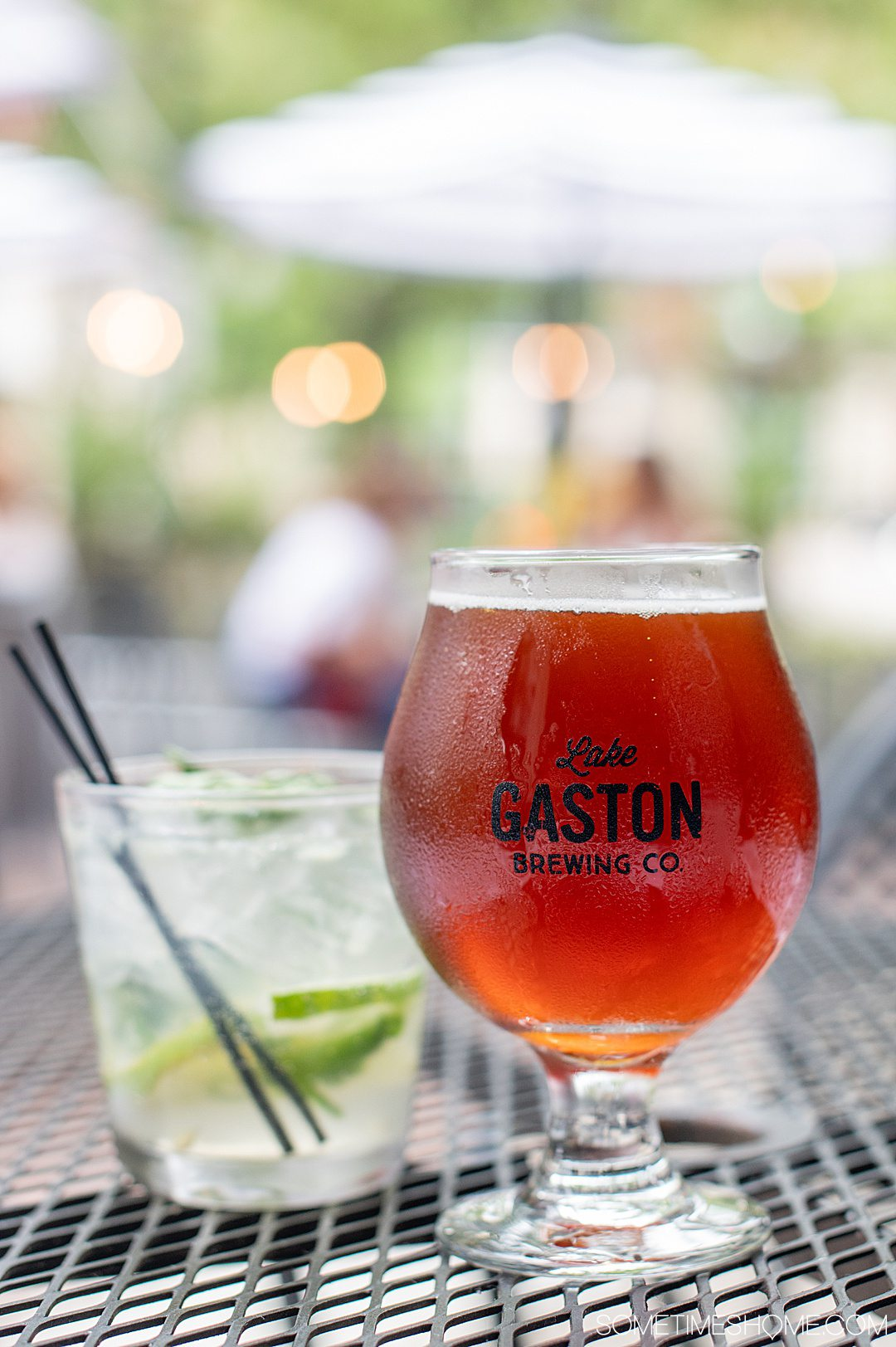 A cocktail and a beer at Gaston Brewing Co. in Fayetteville, NC