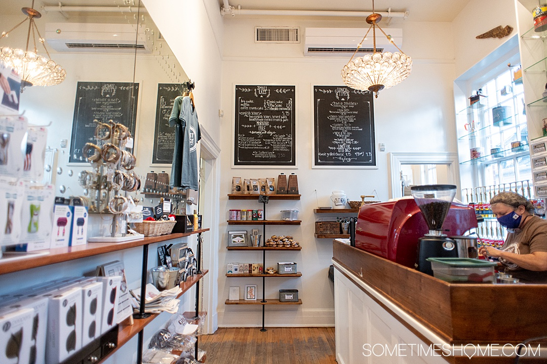 Image of the inside of a small coffee shop called The Roast Office in Pinehurst, NC.