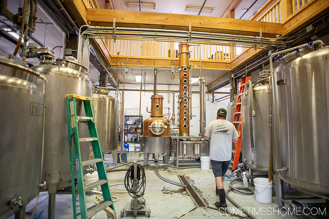 Inside of Outer Banks Distilling in Manteo, North Carolina, where they distill rum in copper stills from Germany on Roanoke Island in the OBX.