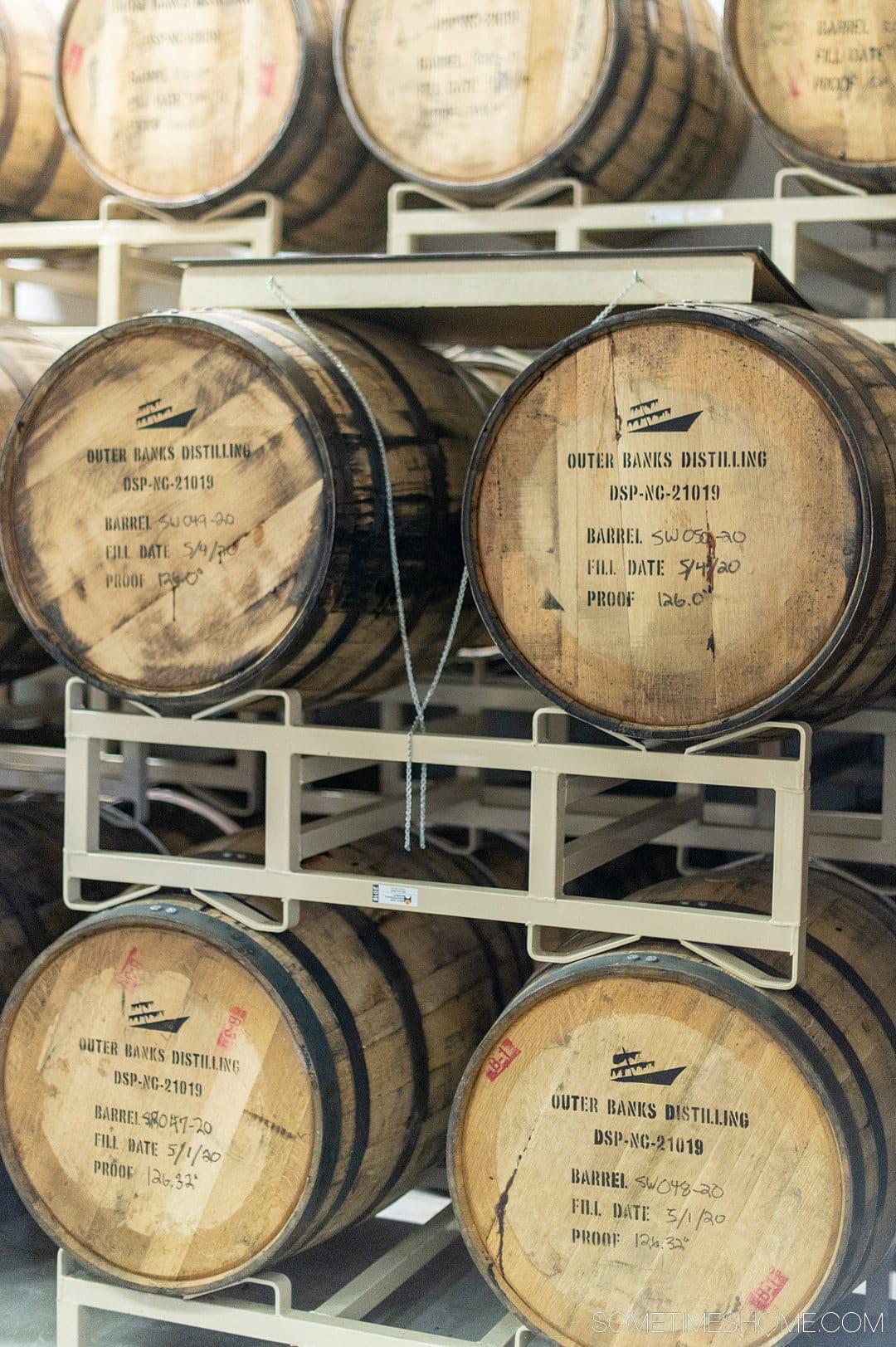 Barrels on shelves for rum distilling in the Outer Banks of North Carolina.