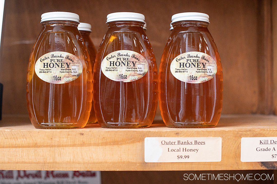 Three jars of local honey from Outer Banks Bees in North Carolina.