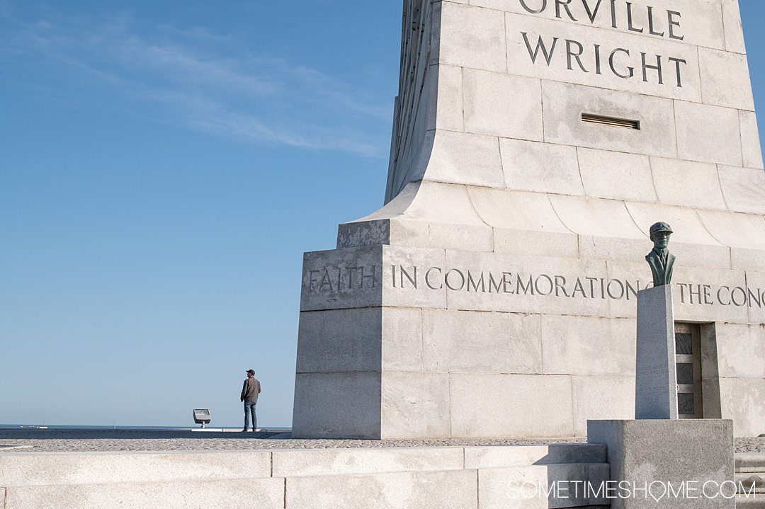The white stone monument at the Wright Brothers National Memorial in Nags Head in the Outer Banks of NC.