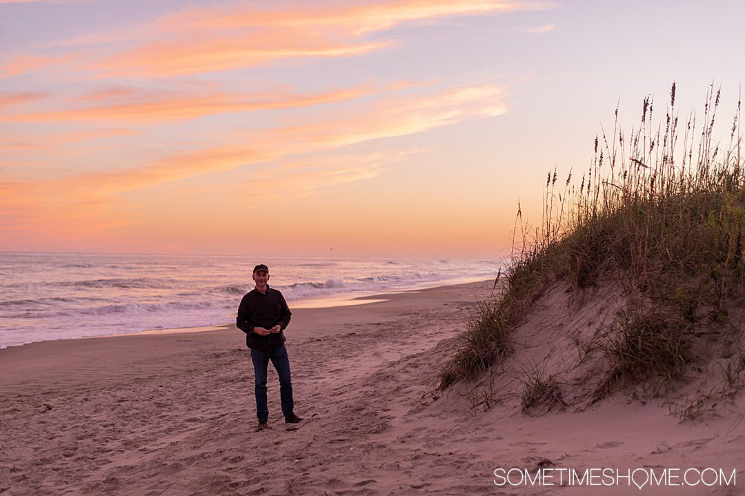 A beautiful orange and pink sunset on Ocracoke beach in the Outer Banks in October.