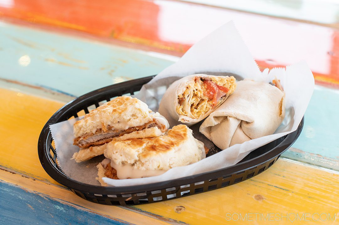 Breakfast burrito and biscuit sandwich at a restaurant in the Outer Banks.
