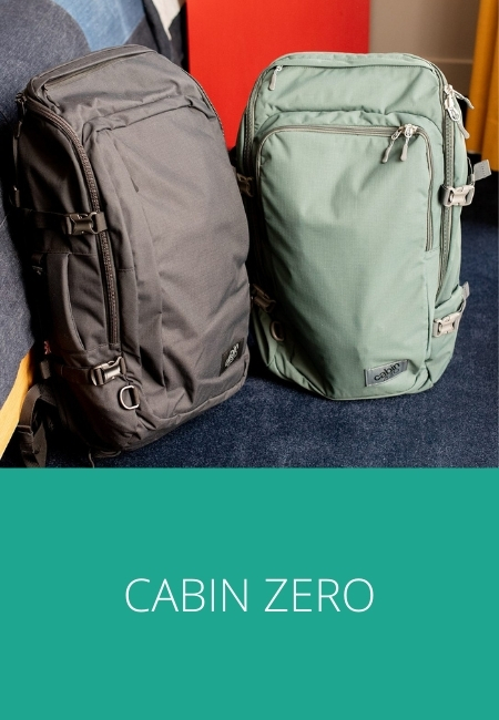 Cabin Zero backpacks and luggage, photo of a black and green backpack.