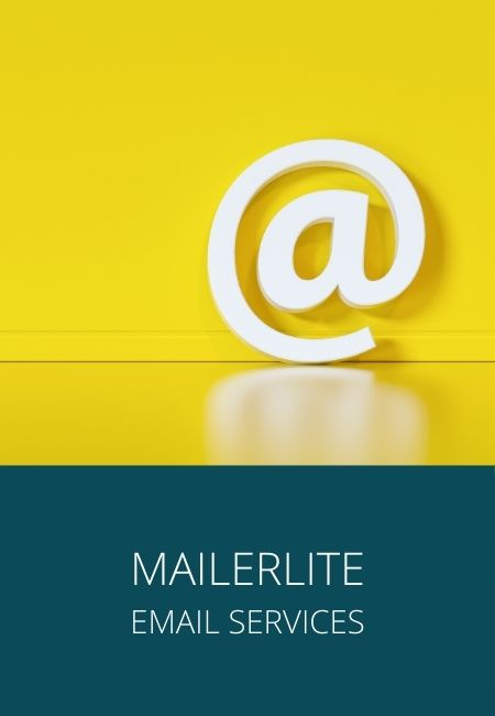 "Mailerlite graphic with an ""@"" sign in a photo against a yellow background."