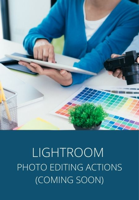 Adobe Lightroom photo editing and actions with a photo of hands and an iPad and color chart.