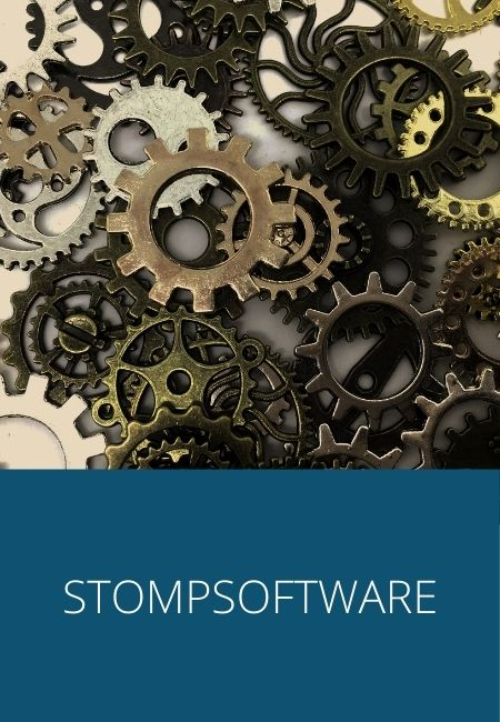 Stompsoftware with a photo of cogs wheels.