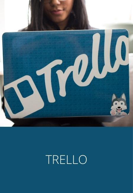 Trello photo on the back of a laptop computer.