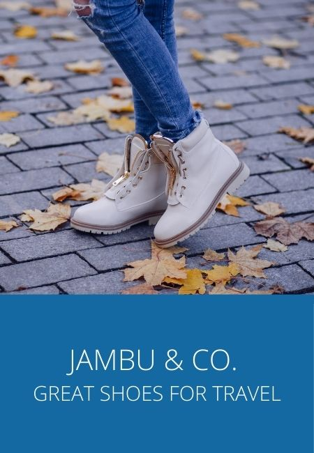 Jambu & Co travel shoes company with a photo of a pair of shoes.