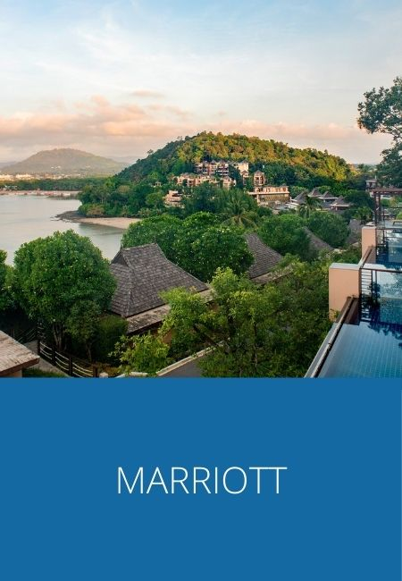 Marriott graphic and photo of a hotel in Thailand.