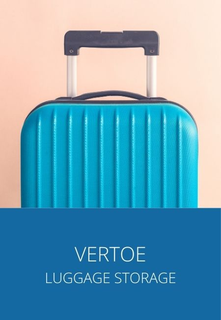 "Photo of a blue piece of luggage with ""Vertoe Luggage Storage"" underneath."