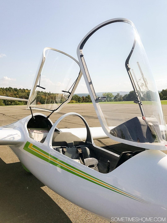 Hang glider top glass open.