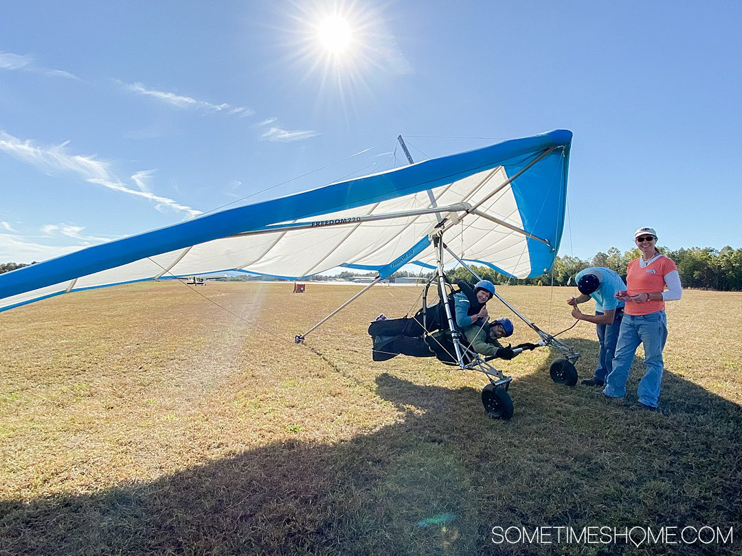 A tandem hang gliding ride in Thermal Valley of Burke County in North Carolina.