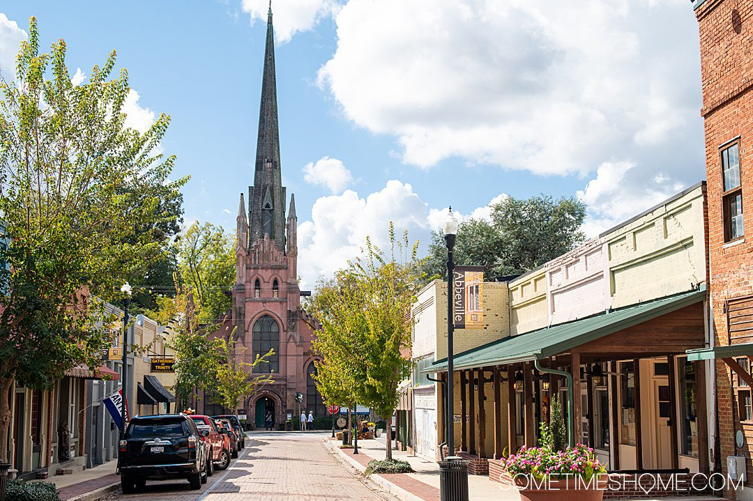 Gothic church at the end of Trinity Street in downtown Abbeville, South Carolina.