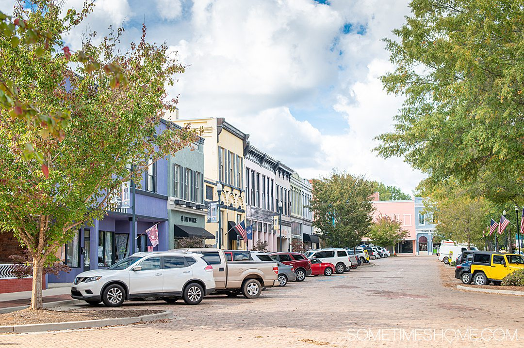 Colorful facades of the buildings in downtown Abbeville, South Carolina in the Old 96 District of the state.