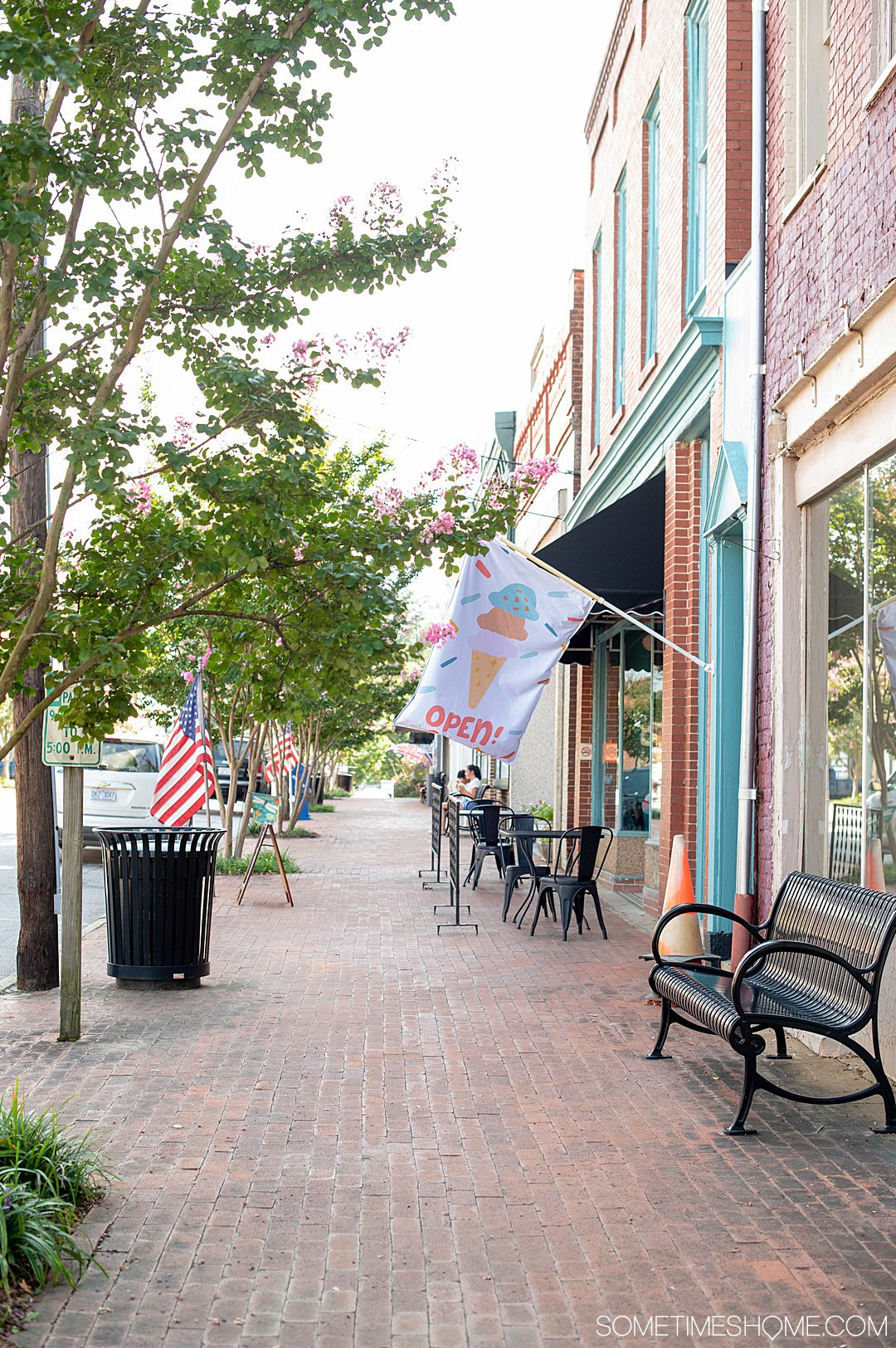 Things to do in Warrenton, NC: get treats on main street. Photo of the brick walkway with an ice cream flag on the sidewalk.