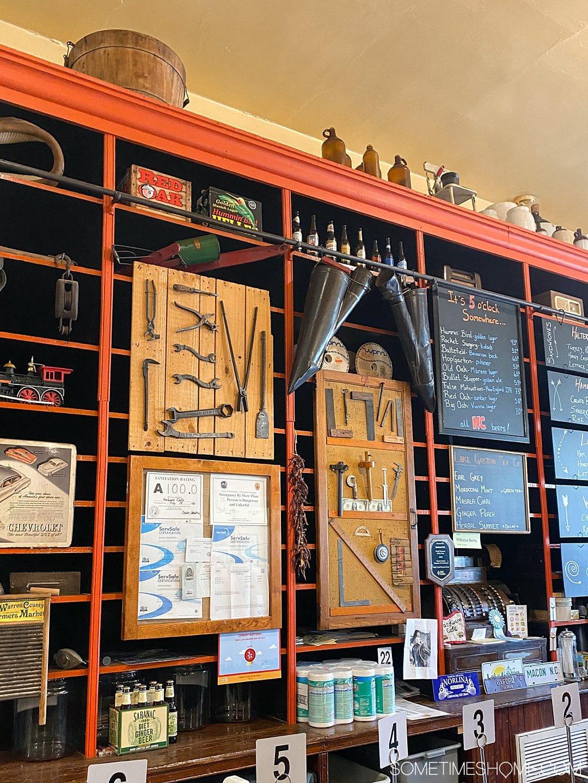 Inside shelves at an old hardware store turned restaurant in Warrenton, NC.
