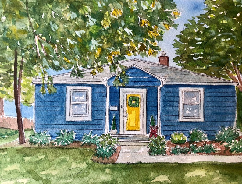 Custom watercolor of a blue house surrounded by trees and landscaping.