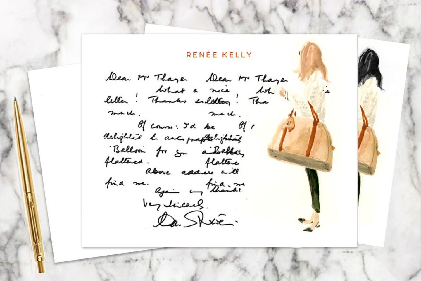 Handwritten note on custom stationery with a fashionable woman on the right carrying a bag.