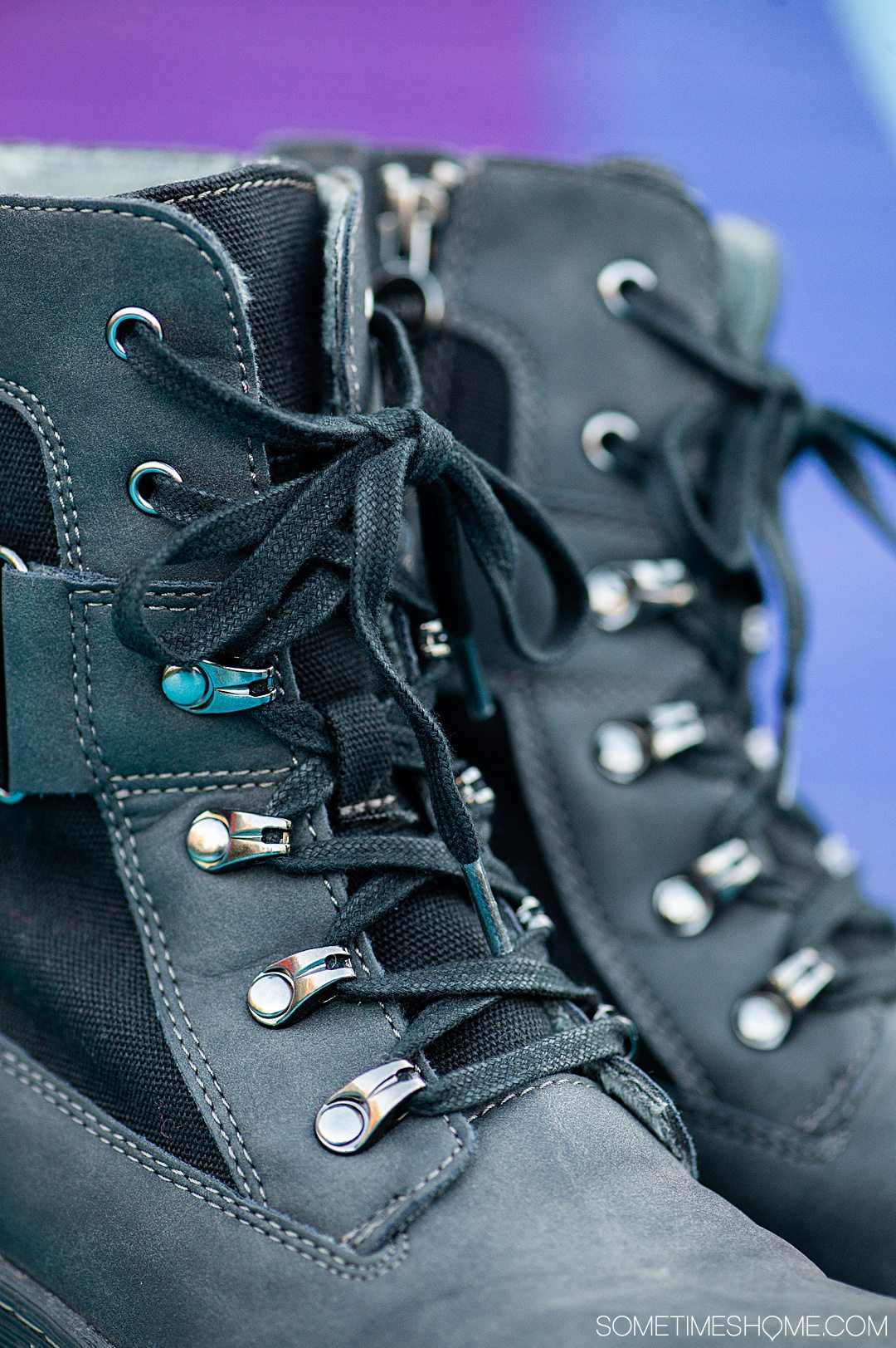 Detail of black laces on a Jambu & Co. pair of Stevie combat-inspired boots.
