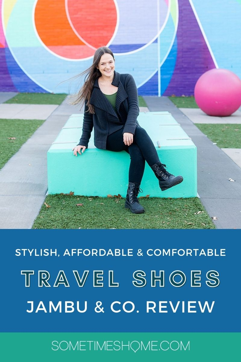 """Pinterest image with a photo of a woman sitting on a blue bench with a colorful mural behind her, with """"Stylish, affordable and comfortable Travel Shoes, Jambu & Co. Review"""" text on it."""