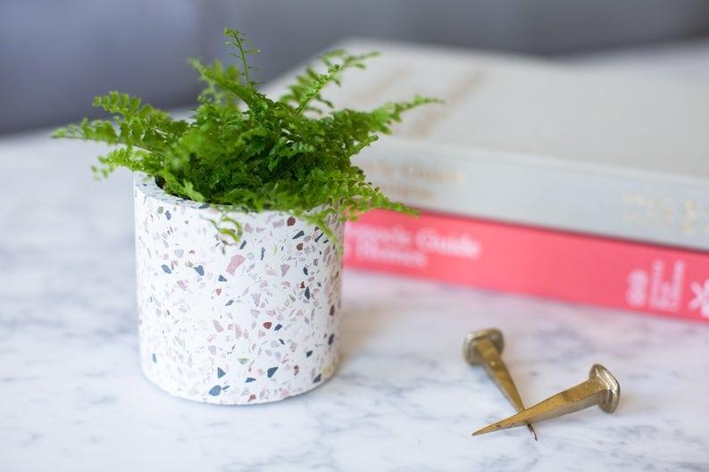 Small terrazzo style planter on Etsy.