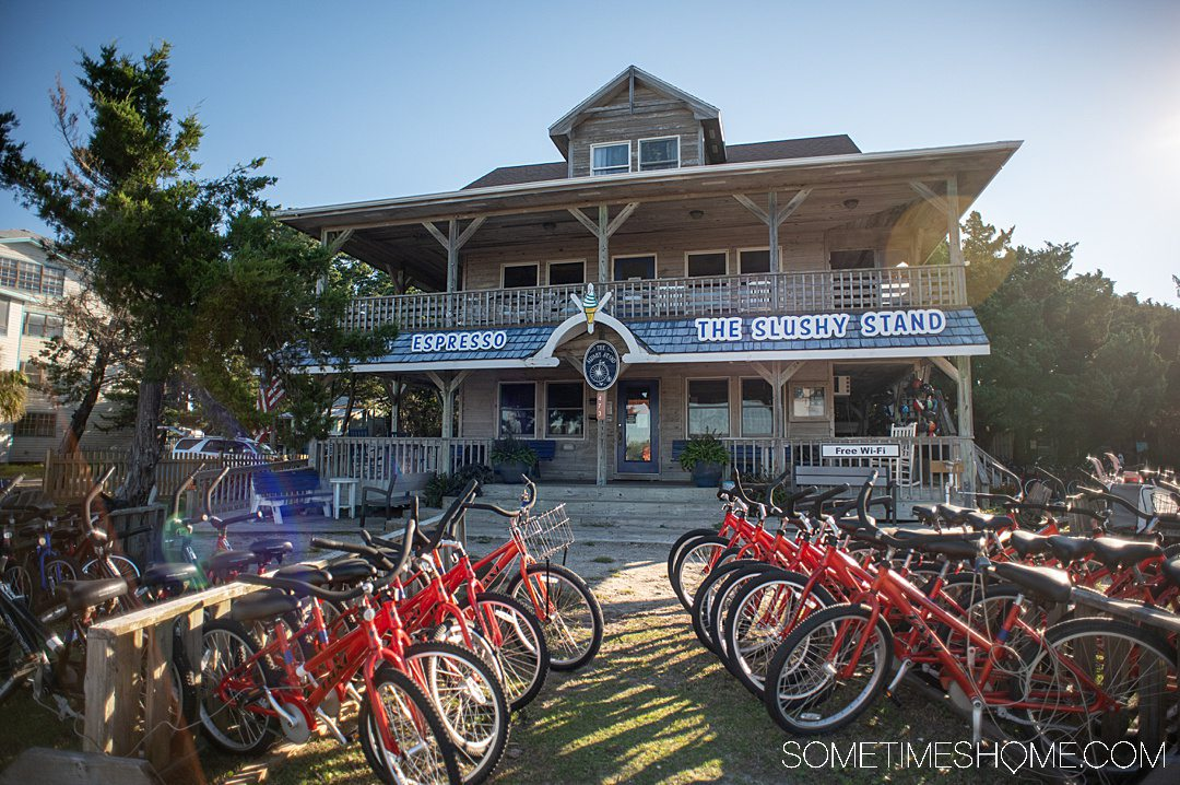 Red bicycles in front of a building in Ocracoke in the Outer Banks.