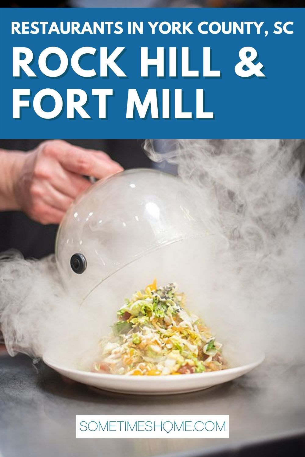 Pinterest image for restaurants in York County, SC, in Rock Hill and Fort Mill, with a picture of a salad and smoke for a dramatic restaurant presentation!