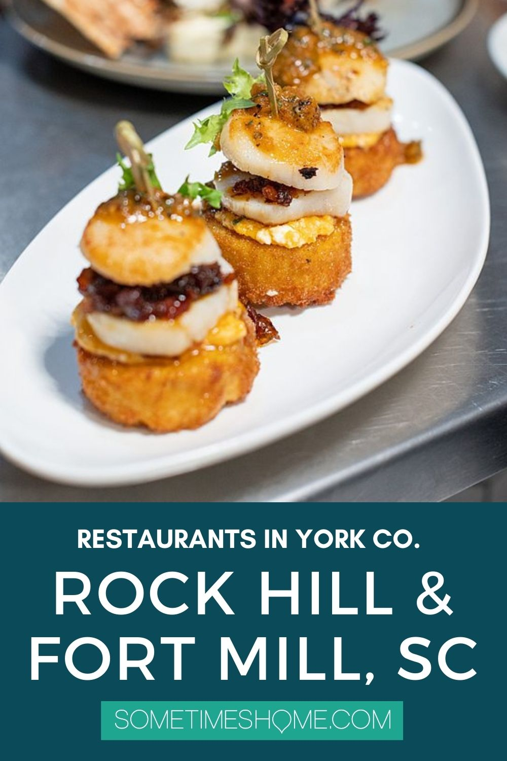 Pinterest image for restaurants in York County, SC, in Rock Hill and Fort Mill, with a picture of three scallops.