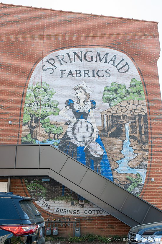 Springmaid mural at Kingsley town center in Fort Mill, SC in York County.