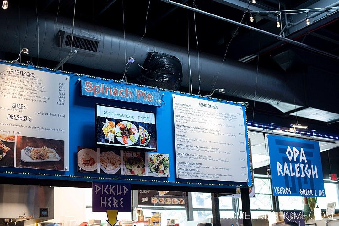Opa Greek vendor inside Morgan Street Food Hall in Raleigh, NC.