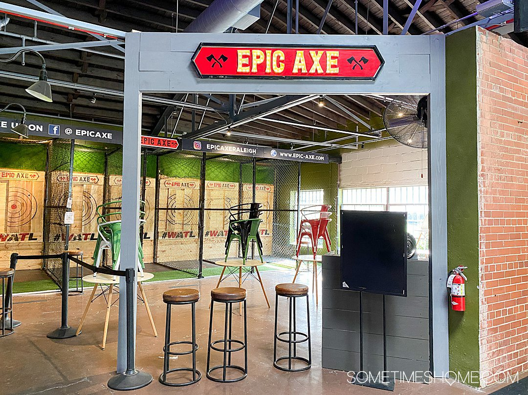 Epic Axe game and entertainment option inside Morgan Street Food Hall in Raleigh, NC.