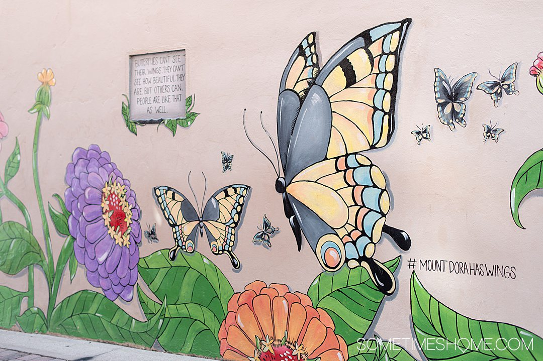 Find out the best things to do in Mount Dora, like seeing this colorful butterfly mural.